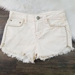 Free People Cream  Embroidered Cut Off Shorts 24